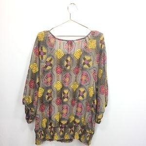 Alfani Tops - Alfani 16W Shirt Geometric 3/4 Sleeves Ruched